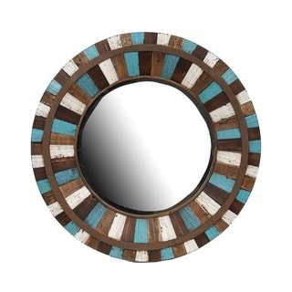 Privilege Round Multicolor Reclaimed Wood Wall Mirror