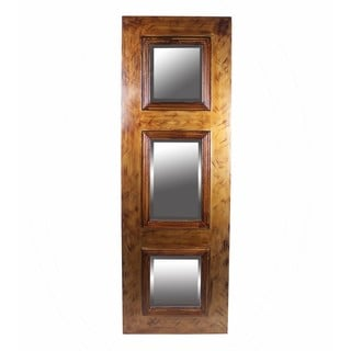 Privilege Brushed Finish 3-panel Wooden Mirror