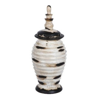 Large Antiqued White Lidded Ceramic Jar