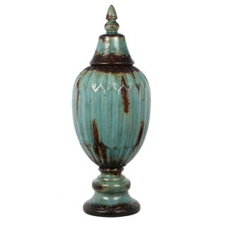 Privilege Antiqued Turquoise Ribbed Ceramic Jar