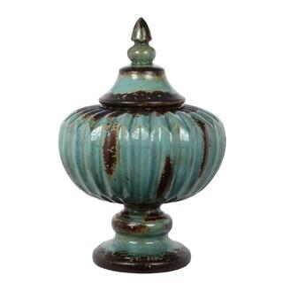 Privilege Small Antiqued Turquoise Ribbed Ceramic Jar