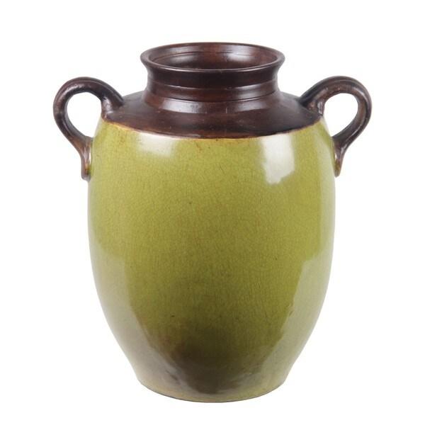 Privilege Green Small Handled Ceramic Jar