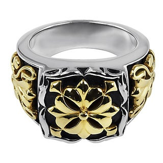18k Yellow Gold and Sterling Silver Fleur Ring