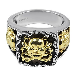 18k Yellow Gold and Sterling Silver Men's Skull and Crossbones Ring