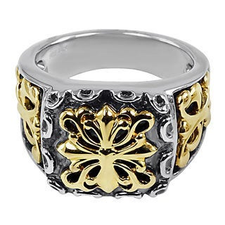 18k Yellow Gold and Sterling Silver Men's French Fashion Ring