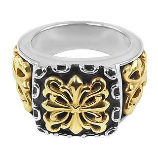 18k Yellow Gold and Sterling Silver Women's French Fashion Ring