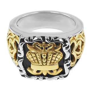 18k Yellow Gold and Sterling Silver Lady's British Crown Ring