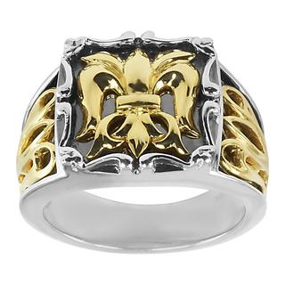 18k Yellow Gold and Sterling Silver Men's Fleur de Lis Ring