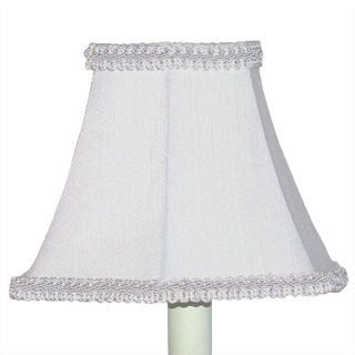 White Braided Trim Hexagonal Chandelier Shades (Set of 2)