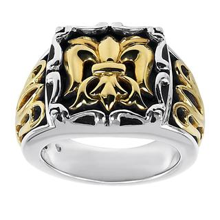 18k Yellow Gold and Sterling Silver Lady's Silver Fleur de Lis Ring
