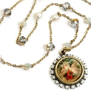 Sweet Romance Vintage Bird and Pearls Station Necklace