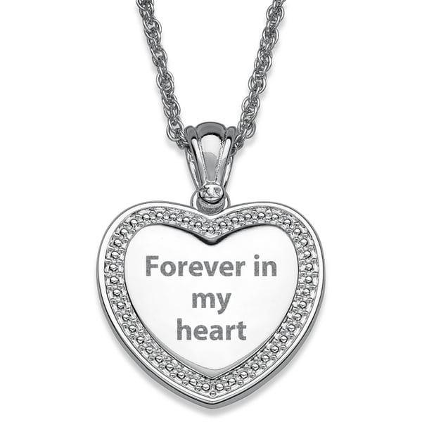 Silver Plated Beaded Framed Engraved Heart Necklace