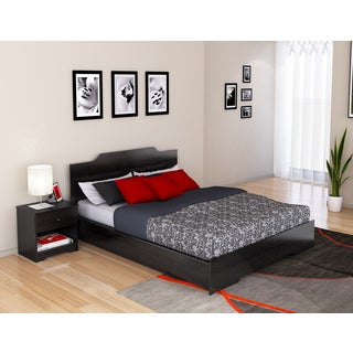 Ravenwood Black Plateau Queen Platform Bed and Nightstand Set