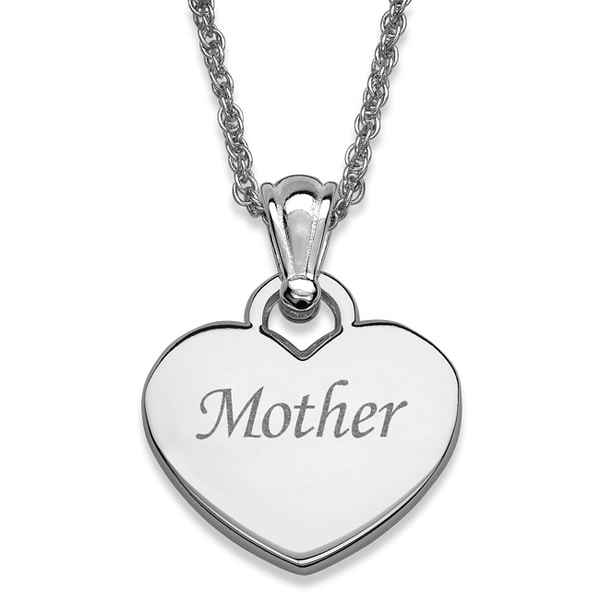 Silvertone 'Mother' Engraved Heart Necklace 12216041