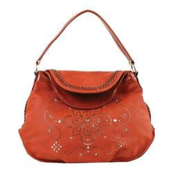 Women's Nicole Lee Kiana Laser Cut Flower Mandala Hobo Bag Brick