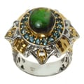 Michael Valitutti Two-tone Ammolite and London Blue Topaz Ring