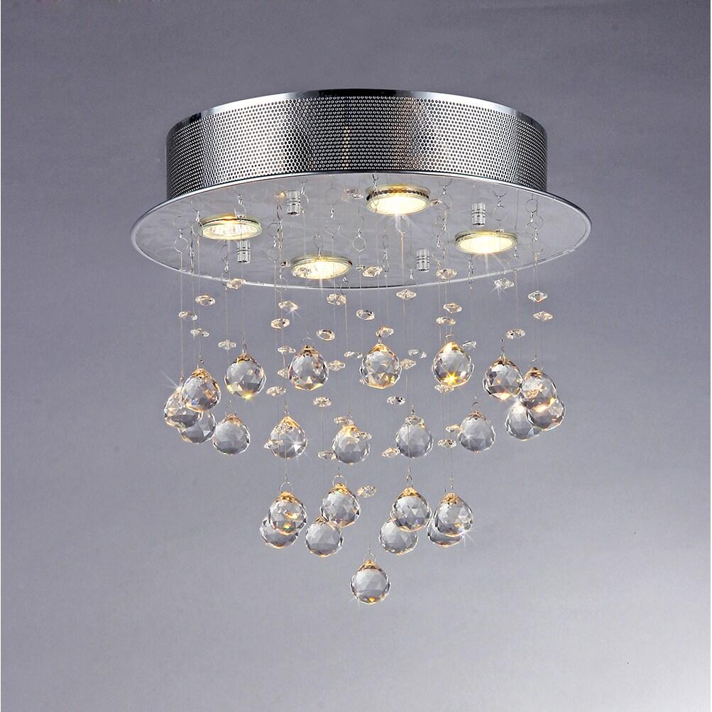 Burbuja flotante y Negro Chrome 5-luz araña de cristal ()