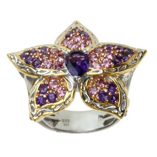 Michael Valitutti Two-tone Amethyst and Pink Tourmaline Orchid Ring