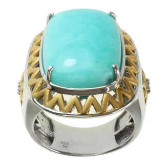 Michael Valitutti Men's Two-tone Amazonite and White Zirconia Ring