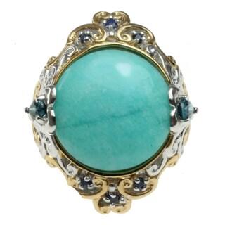 Michael Valitutti Two-tone Amazonite, London Blue Topaz and Sapphire Ring