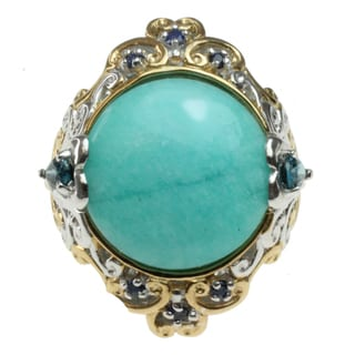 Michael Valitutti Two-tone Amazonite, London Blue Topaz and Sapphire Ring