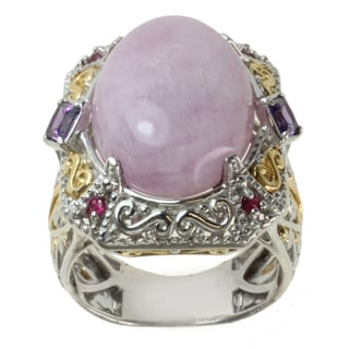 Michael Valitutti Two-tone Kunzite, Amethyst and Ruby Ring