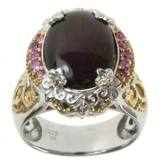 Michael Valitutti Two-tone Purple Ammolite and Pink Sapphire Ring