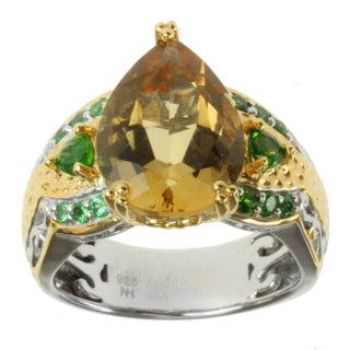 Michael Valitutti Two-tone Yellow Beryl, Tsavorite and Chrome Diopside Ring