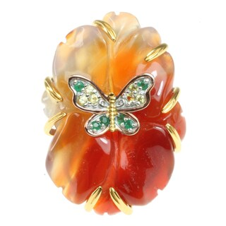 Michael Valitutti Two-tone Carved Red Agate, Emerald and Yellow Sapphire 'Flower and Butterfly' Ring
