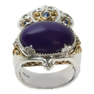 Michael Valitutti Two-tone Purple Jade and Blue and White Sapphire Ring