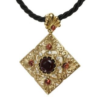 Dallas Prince Gold over Silver Garnet and White Sapphire Necklace