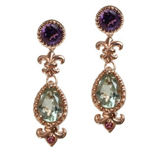 Dallas Prince Gold over Silver Green Amethyst, Amethyst and Pink Tourmaline Stud Earrings with Removable Drops