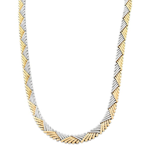 Fremada 14 Karat Two-tone Gold Triangle Zigzag Necklace (17 inch)