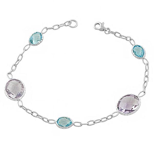 Fremada Sterling Silver Alternate Oval Pink Amethyst and Blue Topaz Bracelet (7.5 inch)