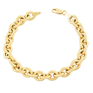 Fremada 14k Yellow Gold 7.5-mm Bold Rolo Link 7.25-inch Bracelet