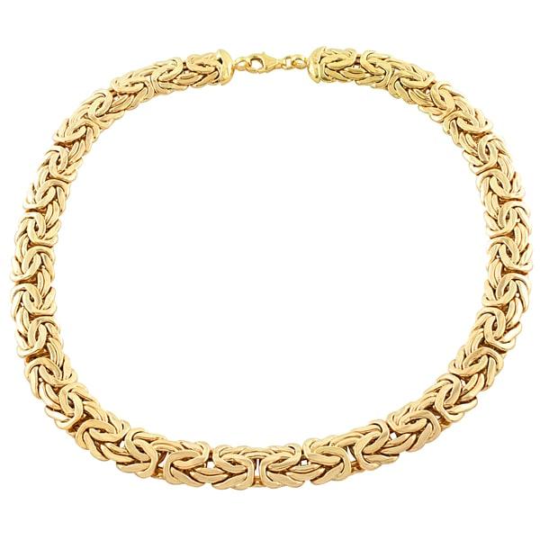 Fremada 14k Yellow Gold 13-mm Byzantine Necklace (17 inches)