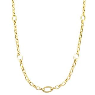 Fremada 14k Yellow Gold Polished Oval Station Necklace (32 inch)