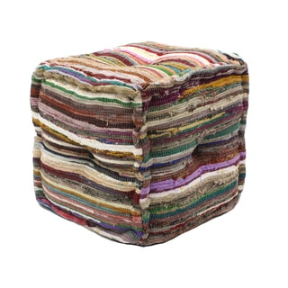 Cotton Chindi Pouf Ottoman (India)