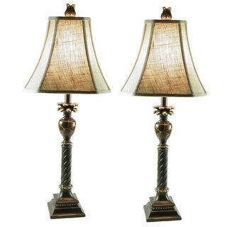 Candlestick 1-light Brown/ Black/ Gold Table Lamps (Set of 2)