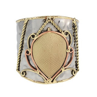Handcrafted Brass and Copper Paisley Mixed Metals Cuff Bracelet (India)