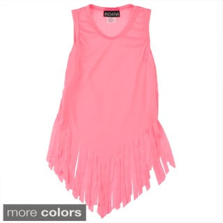 Girls Solid Fringe V-bottom Dress