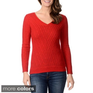 Ply Cashmere Women's Cable Knit V-neck Sweater