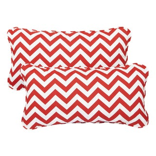 Red Chevron Corded 12 x 24 Inch Indoor/ Outdoor Lumbar Pillows (Set of 2)