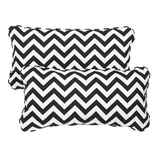 Black Chevron Corded 12 x 24 Inch Indoor/ Outdoor Lumbar Pillows (Set of 2)