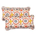 Floral Citrus Corded 12 x 24 Inch Indoor/ Outdoor Lumbar Pillows (Set of 2)