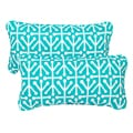 Teal Dossett Corded 12 x 24 Inch Indoor/ Outdoor Lumbar Pillows (Set of 2)