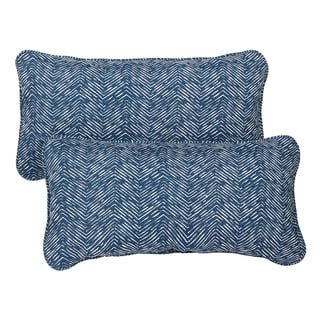 Navy Herringbone Corded 12 x 24 Inch Indoor/ Outdoor Lumbar Pillows (Set of 2)