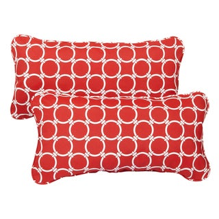 Linked Red Corded 12 x 24 Inch Indoor/ Outdoor Lumbar Pillows (Set of 2)