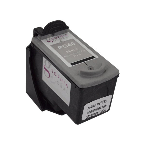 Sophia Global Remanufactured Black Ink Cartridge Replacement for Canon PG-40 with Ink Level Display 12218154