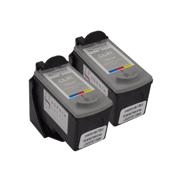 Sophia Global Remanufactured Color Ink Cartridge Replacements for Canon CL-41 with Ink Level Display (Pack of 2)